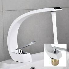 Armatur Wasserhahn Gebogen Einhebelmischer Bad Waschbecken Waschtisch Weiß Neu