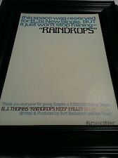 B.J. Thomas Raindrops Keep Falling On My Head Rare Promo Poster Ad Framed!