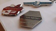 3  X Triumph classic car grill badge - stag-tr6-dolomite-spitfire-tr2-tr3-tr4-