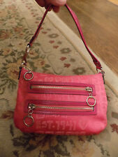 Coach Poppy Pink Story Patch Metallic Fabric Glam Tote Purse Patent strap 3 zip