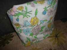 """VINTAGE SEARS & ROEBUCK GARDEN FLORAL PINK GREEN YELLOW FULL FITTED SHEET 7"""""""