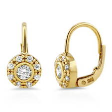 BERRICLE Gold Flashed Round CZ Halo Leverback Anniversary Wedding Earrings