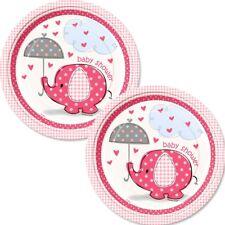 Baby Shower Elefant Teller pink, 17,8 cm, 8er Pack