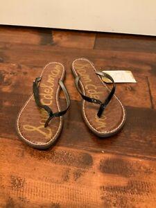 "Sam Edelman Black Leather ""Gracie"" Thong Sandals, Size 10 (US)"