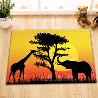 Home Rug Non-slip Bath Mats Floor Door Rug Shower Carpet Africa Animal Landscape