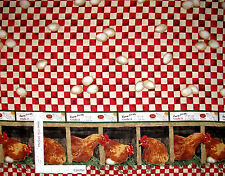 Farm Chicken Rooster Nest Single Border Cotton Fabric by Springs CP38138 - Yard