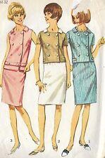 "S6403 Vintage 1960 Sewing Pattern 2-Piece Dress Top Skirt Mad Men Bust 32"" Sz 12"