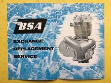 BSA - Exchange Replacement Service - Brochure Leaflet - B.S.A. Motor Cycles