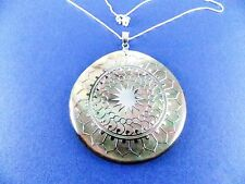 "Genuine Mother of Pearl Medallion Necklace 925 Sterling Silver 18"" List $210"