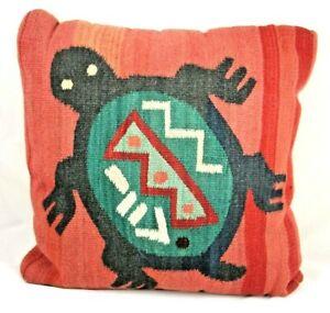 "Vtg Zapotec? Wool Pillow Turtle Red Green Black Southwestern Floor Cushion 20"""