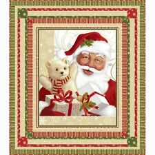 Jolly Old St Nick Santa Father Christmas Wall Hanging Quilting Fabric Panel