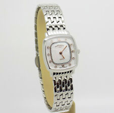 Ladies Rotary Stainless Steel Wrist Watch Square Mother-of-Pearl Dial