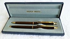 PAPER-MATE 518 Gold Lacquer Ballpoint Pen & 0.9 Pencil Set In Box ~ Made In USA