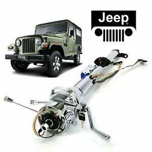 "66-73 Jeep CJ DJ  33"" Chrome TILT STEERING COLUMN SHIFT W/ KEY AMC Tremec Tuxedo"