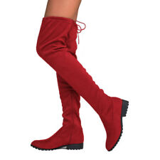 Womens Ladies Over The Knee Thigh High Boots Lace Up Flat Heel Shoes Boots Size