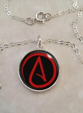 Sterling Silver 925 Pendant Necklace Atheist Symbol Choose Your Color