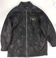 PELLE PELLE Black Leather Silver Studded Jacket Size 40 Men's Marc Buchanan Full