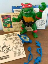 1989 Playmates TMNT Breakfightin' Raphael w/ accessories, joke book, card