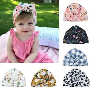 Toddler Newborn Baby Boy Girl Kids Sun Hat Floral Bowknot Cap Turban Photo Props