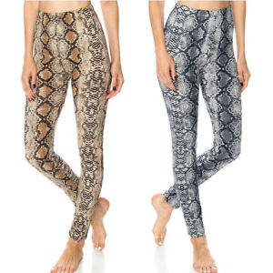 Womens High Waist Snakeskin Leggings Stretch Graphic Snake Print Pants -Gray
