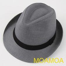Moa0142 Gray Fedora Trilby Hat Design Basic Men Cotton Cap Suit Women Unisex