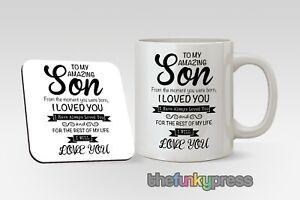 Personalised Son Mug And Coaster Set Cup Tea Coffee Birthday Christmas Gift