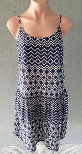 ❤️ UNIQLO Strappy Drop Waist A-Line Dress Navy White Size M Buy7=FreePost L882