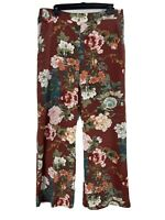 Chicos Womens Brown Floral Elastic Waist Pants Size 2R /US 12 R