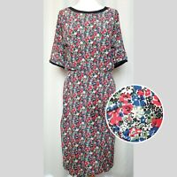 BRORA Red Blue Ditsy Print Midi 100% Silk Dress (UK Size 10) Floral Fitted Waist