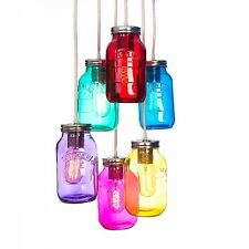 6 way Kilner Multi coloured Jam Jar cluster ceiling pendant + Free UK P&P