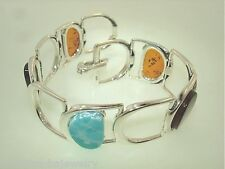 20mm 925 STER Silver Genuine Mixed Baltic Sea Amber Larimar Buckle Bracelet 7.5""