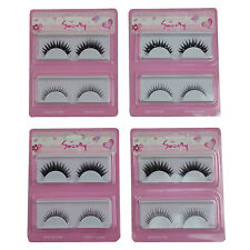Party 8 Pairs Synthetic False Eyelashes 4 pairs w/stones & 4 pairs w/o stones