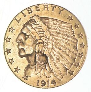 $2.50 United States 90% US Gold Coin - 1914-D Indian - No Reserve *607