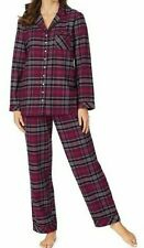 NWT Eileen West $78 PURPLE PLAID Soft FLANNEL Pajama/Lounge Set S Velvet Trim