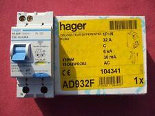 Réf AD932F OU ADC932F DISJONCTEUR HAGER 1P+N 32A 30mA 6Ka/10Ka TYPE AC 240V NEUF