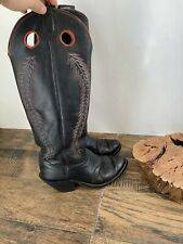 TALL, CUSTOMIZED, KANSAS OLATHE COWBOY BOOTS Nice Vintage N37 Size 9D