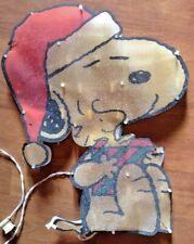 "Twinkle Light Glitter Snoopy w Woodstock Silhouette Christmas Decoration 19""x15"""