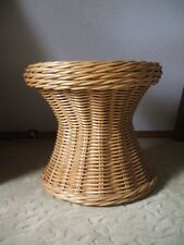 1980' Country  Hourglass Wicker  Accent Table Frosted Glass Top