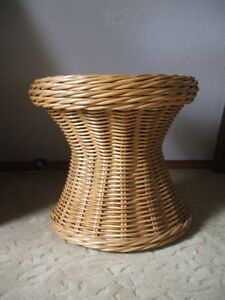Rattan End Accent Table With Inset Frosted Glass Hourglass