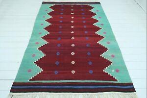 "Vintage Turkish Avunya Kilim, Modern Kelim, Red Floor Rug 60""x90"" Teppich Carpet"