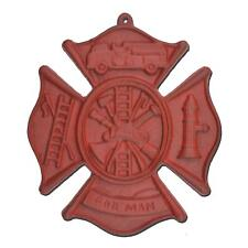 """Firefighting Firemans Cross Hanging Wall Plaque Red Cast Iron Maltese 7.75"""" W"""