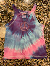 New Custom Boutique Circo Tie Dye Tank Pink Blue Bling Peace Sign 18m