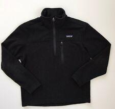 Patagonia Men's Small Black 1/2 Zip Merino Wool Fleece Pull Over Jacket EUC