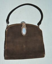 1920-30's Brown Suede PUrse w Gorgeous Marcaite / Blue Stone Clasp