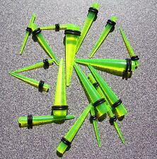 3 Pair 12g AND 10g AND 8g Green Acrylic Ear Taper  Expander Gauges Kit Lot Deal