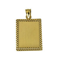 14K Solid Real Yellow Gold Diamond Cut Dog Tag ID Charm Pendant