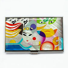 Mother of pearl business card case characters of Beijing opera , Metal case