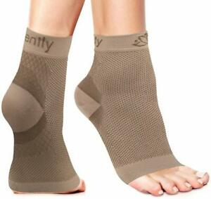 Serenily Plantar Fasciitis Socks - Compression Socks for Foot Pain (Beige S-M)
