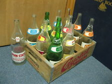 Vintage Set of 12 Glass Bottles in Crate including Penn State Coca Cola 50/50