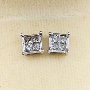 14K Solid White Gold Genuine Natural Diamonds Square Stud Fine Pierced Earrings